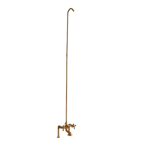 Tub/Shower Converto Unit - Elephant Spout, Cross Handles - Polished Brass