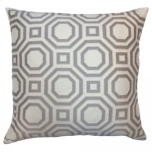Warren Contemporary Decorative Feather and Down Throw Pillow In Gray Jacquard Fabric