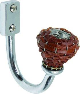 Hamptons Saddle Leather Hook 3 Inch - Polished Chrome