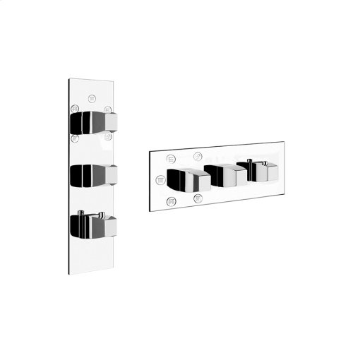 "TRIM PARTS ONLY External parts for 5-way thermostatic diverter with volume control Single backplate High capacity 3/4"" connections Vertical/Horizontal application Anti-scalding Requires in-wall rough valve 39601"