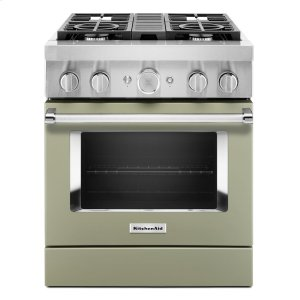 KitchenAidKitchenAid® 30'' Smart Commercial-Style Dual Fuel Range with 4 Burners - Avocado Cream