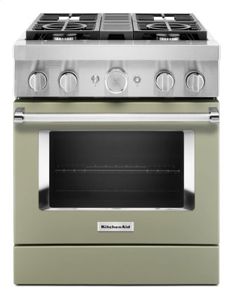 KitchenAid™ 30'' Smart Commercial-Style Dual Fuel Range with 4 Burners - Matte Avocado Cream