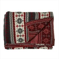 Grey, Red & Cream Snowflake Knit Throw. Product Image