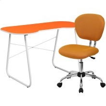 Orange Computer Desk and Mesh Chair