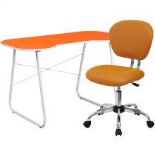 Orange Computer Desk and Mesh Chair
