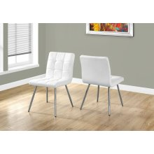 "DINING CHAIR - 2PCS / 32""H / WHITE LEATHER-LOOK / CHROME"