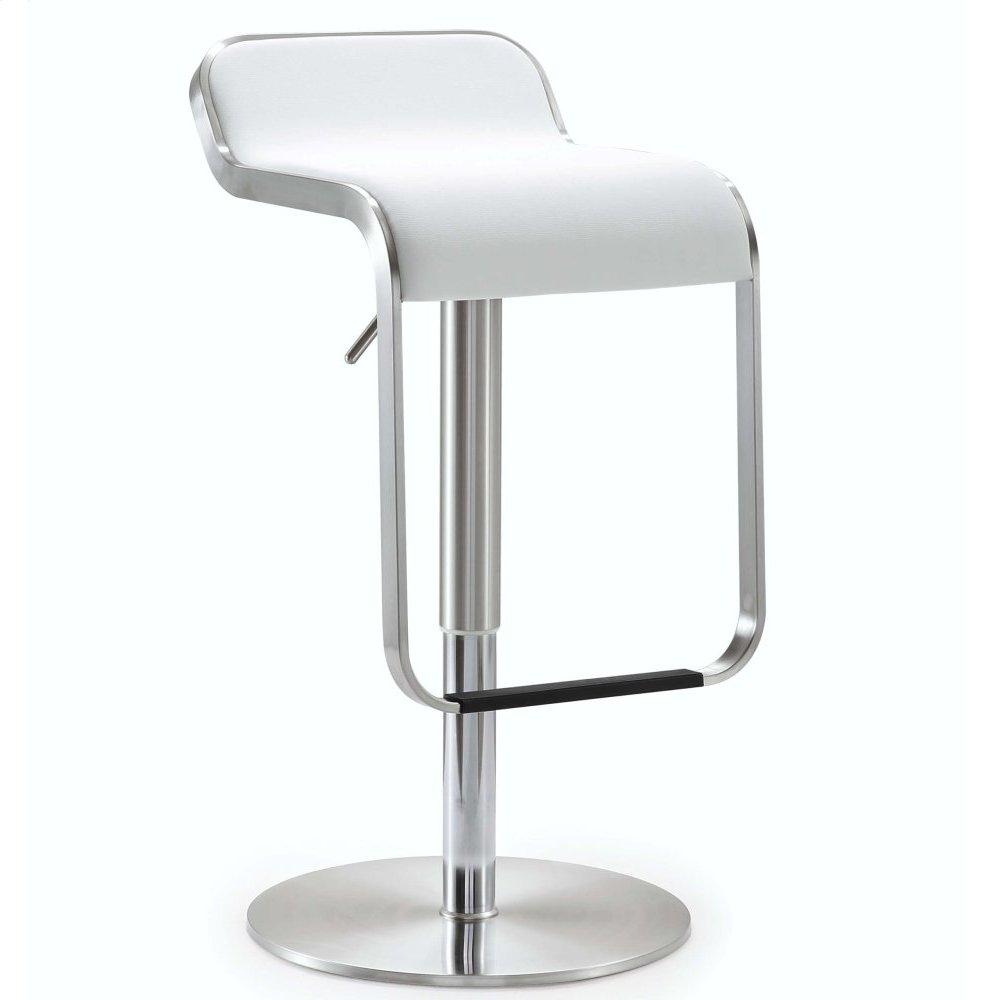 Napoli White Stainless Steel Adjustable Barstool