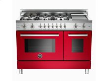48 6-Burner + Griddle, Electric Self-Clean Double Oven Red
