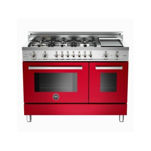 48 6-Burner + Griddle, Electric Self-Clean Double Oven Red - Red