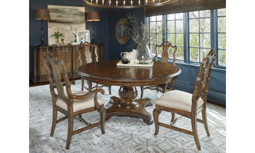 """Continental Round 66"""" Dining Table - Weathered Nutmeg"""