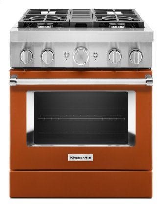 KitchenAid™ 30'' Smart Commercial-Style Dual Fuel Range with 4 Burners - Scorched Orange
