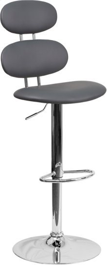Contemporary Gray Vinyl Adjustable Height Barstool with Ellipse Back and Chrome Base