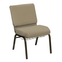 Wellington Walnut Upholstered Church Chair with Book Basket - Gold Vein Frame