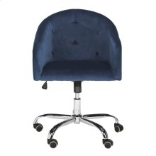 Amy Tufted Velvet Chrome Leg Swivel Office Chair - Navy / Chrome