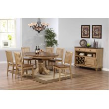 DLU-BR4260-C60-SRPW8PC  8 Piece Round or Oval Butterfly Leaf Dining Set with Server
