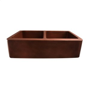 """Port Double Bowl Copper Farmer Sink - 35"""" - Hammered Antique Copper Product Image"""