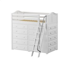 High Loft w/ Angle Ladder, 2 x5 Drawer Dressers & Narrow 5 Drawer Dresser : Twin : White : Curved