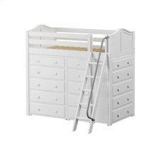 High Loft w/ Angle Ladder, 2 x5 Drawer Dressers & Narrow 5 Drawer Dresser : Twin : White : Curved