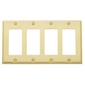 Polished Brass Beveled Edge Quad GFCI Product Image