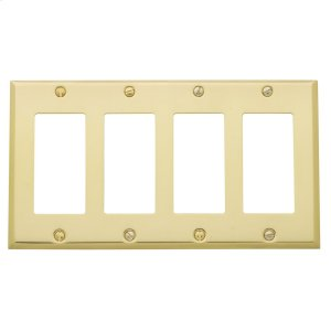Polished Brass Beveled Edge Quad GFCI Product Image