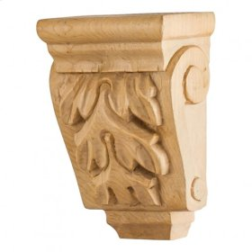 "3"" x 1-3/4"" x 4-1/4"" Mini Wood Corbel with Acanthus Detail, Species: Oak"