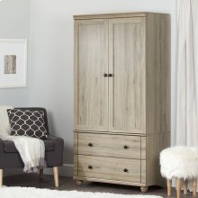 Storage Armoire With 2 Drawers - Rustic Oak