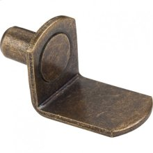 "Antique Brass 1/4"" Pin Angled Shelf Support with 3/4"" Arm"
