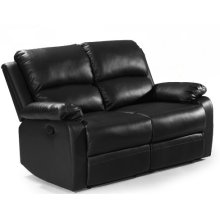 Black Leather Reclining Loveseat