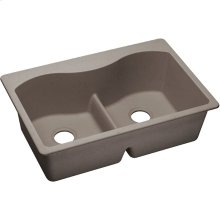 "Elkay Quartz Classic 33"" x 22"" x 9-1/2"", Equal Double Bowl Drop-in Sink with Aqua Divide, Greige"