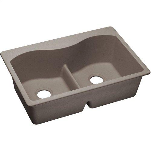 """Elkay Quartz Classic 33"""" x 22"""" x 9-1/2"""", Equal Double Bowl Drop-in Sink with Aqua Divide, Greige"""