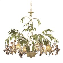 Huarco 6-Light Chandelier in Seashell and Sage Green with Floral-shaped Glass