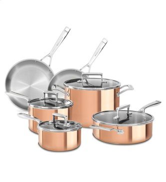 KitchenAid® Tri-Ply Copper 10-Piece Set - Satin Copper