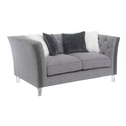 Loveseat W/4 Accent Pillows-pewter Product Image