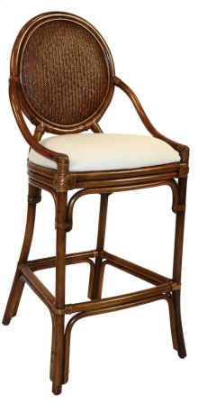 "Treasure Cay Indoor Stationary Rattan & Wicker 30"" Bar Stool with Cushion"