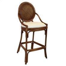 "Treasure Cay Indoor Stationary Rattan & Wicker 30"" Bar Stool with Cushion"