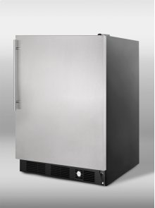 Frost-free freezer for built-in undercounter use, with stainless steel door, black cabinet, thin handle, and factory installed icemaker