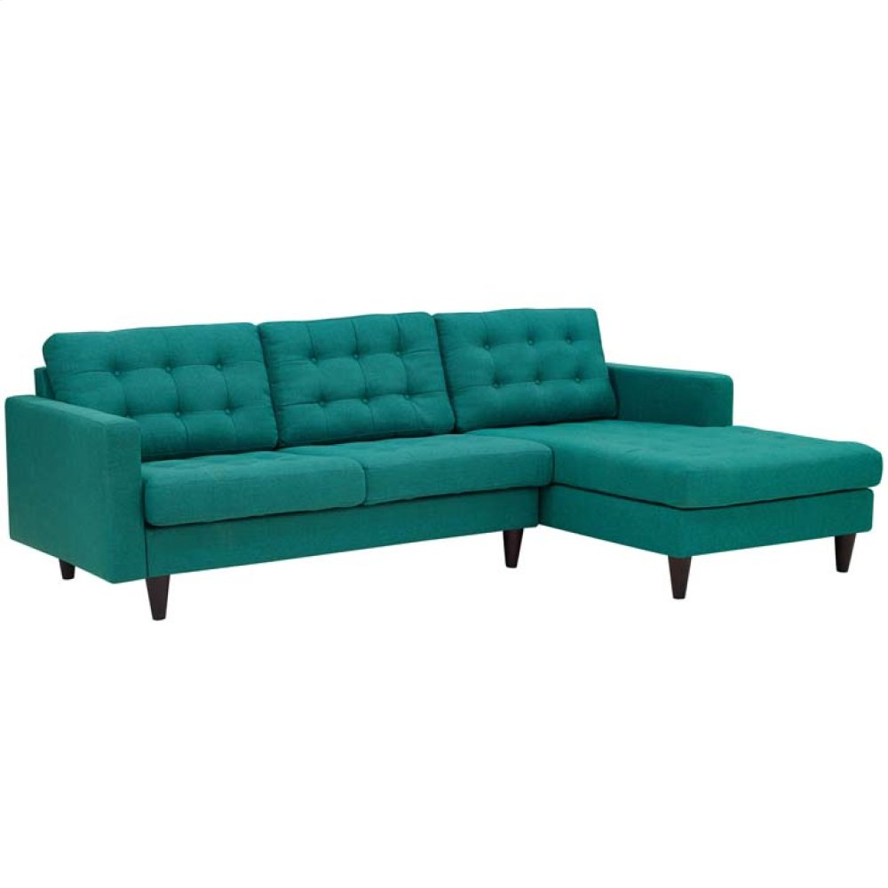 Empress Right-Facing Upholstered Fabric Sectional Sofa in Teal