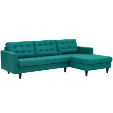 Empress Right-Facing Upholstered Fabric Sectional Sofa in Teal Product Image