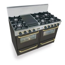 "48"" All Gas Range, Open Burners, Black with Brass Trim"