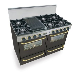 """Five Star48"""" All Gas Range, Open Burners, Black with Brass Trim"""