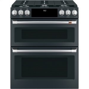 "Cafe AppliancesCaf(eback) 30"" Smart Slide-In, Front-Control, Dual-Fuel, Double-Oven Range with Convection"