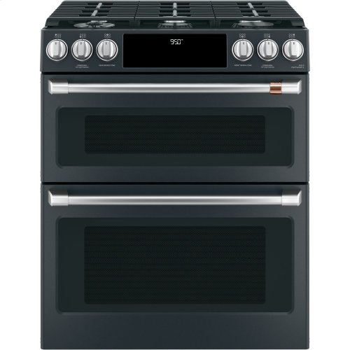 "Café 30"" Slide-In Front Control Dual-Fuel Double Oven with Convection Range"