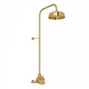 English Gold Perrin & Rowe Edwardian Thermostatic Shower Package with Edwardian Cross Handle