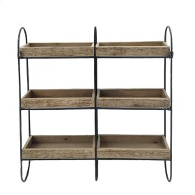Iron & Wood 3 Tier Wall Shelf,brown