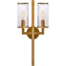 Visual Comfort KW2201AB-CRG Kelly Wearstler Liaison 2 Light 10 inch Antique-Burnished Brass Sconce Wall Light in Antique Burnished Brass, Kelly Wearstler, Crackle Glass