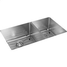 "Elkay Crosstown Stainless Steel 31-1/2"" x 18-1/2"" x 9"", 60/40 Double Bowl Undermount Sink Kit"