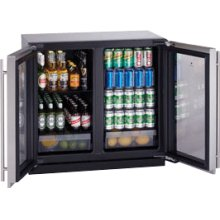 "Stainless Double Door, lock model Modular 3000 Series / 36"" Glass Door Refrigerator / Dual Zone Convection Cooling System"