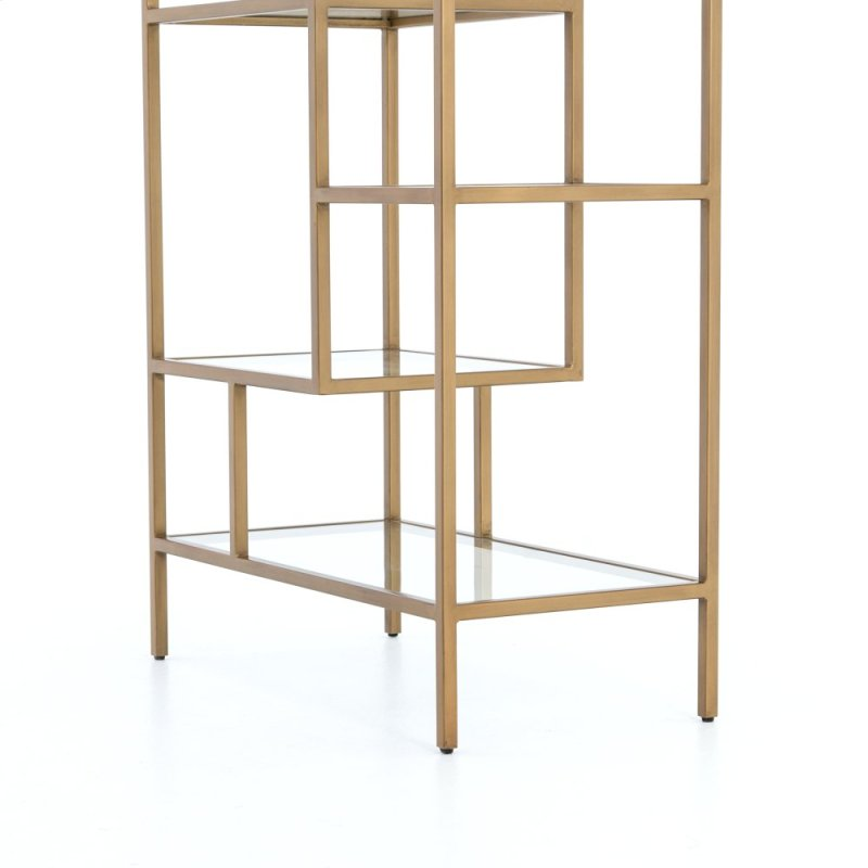 etageres shelves inspiring bamboo glass hollywood brass faux bookcase display pair