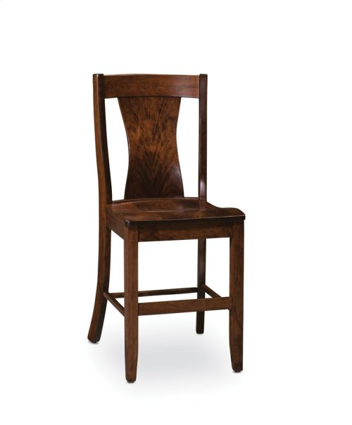 Joseph Stationary Barstool, Leather Cushion Seat