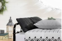 3 item kit - Printed Comforter with pillow shams, Cable-Knit Throw Pillow and Quilted Throw Pillow - Pure Black and Gray